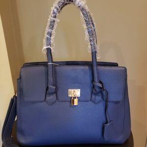 Handbags - Large navy pebbled vegan birkin style bag